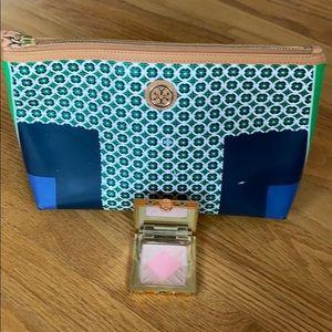 Tory Burch cosmetic/makeup bag + compact/blush/brz